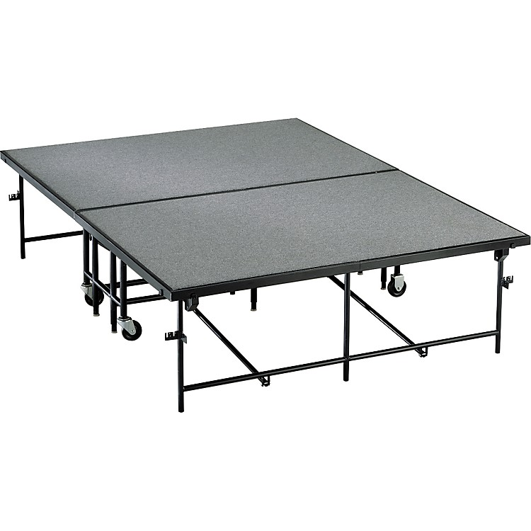 Midwest Folding Products 6x8 Mobile Stage 32 in. High, Pewter Gray Carpet