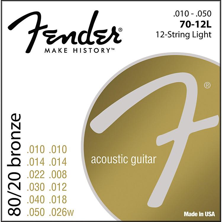 Fender70-12L 80/20 Bronze 12-String Acoustic Strings - Light
