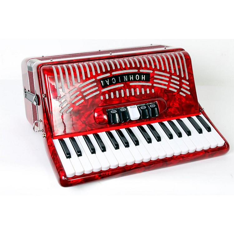 Hohner 72 Bass Entry Level Piano Accordion Red 888365813783