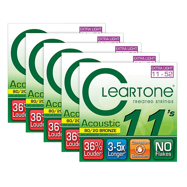 Cleartone 80/20 Bronze Coated Acoustic Guitar Strings Custom Light (5-Pack)