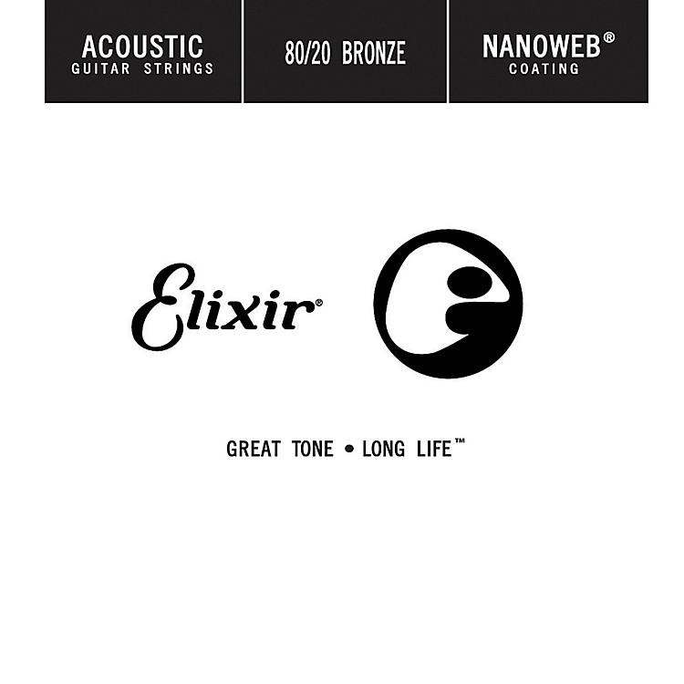 Elixir80/20 Bronze Single Acoustic Guitar String with NANOWEB Coating (.024)