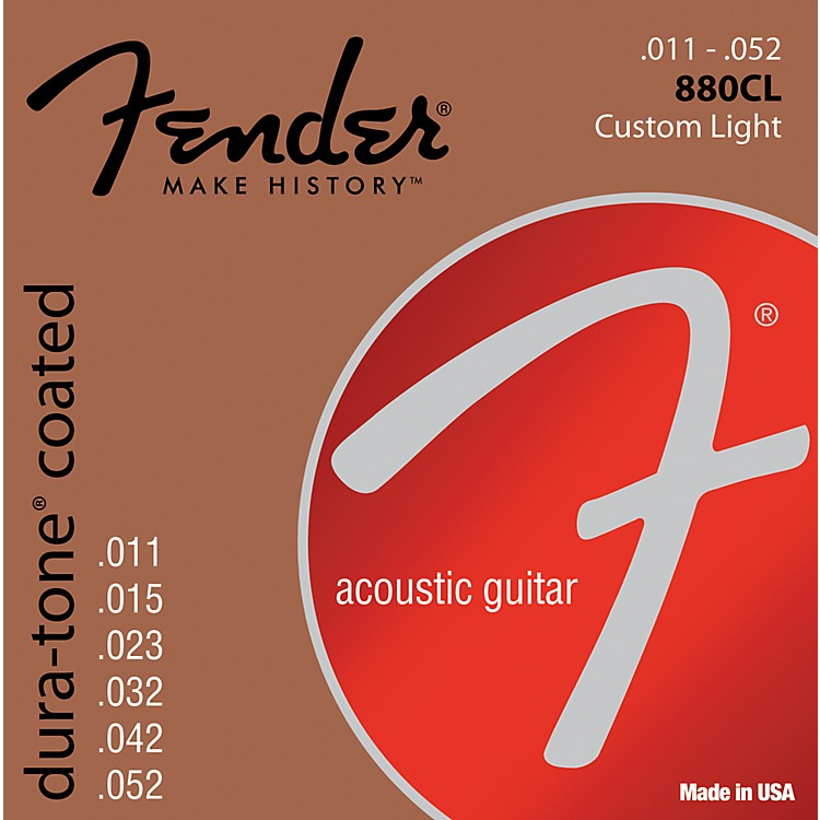 Fender 880CL Coated 80/20 Bronze Acoustic Guitar Strings - Custom Light
