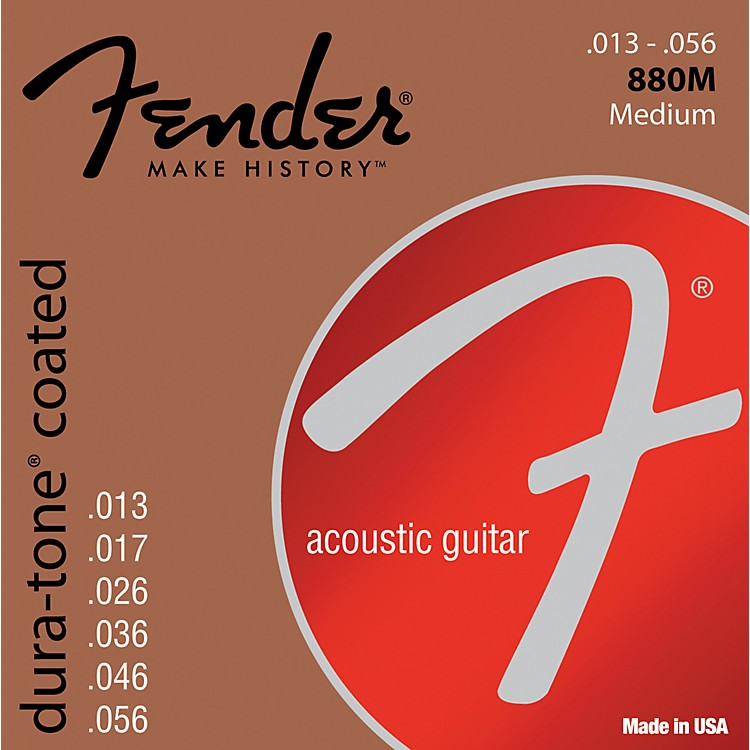 Fender880M Coated 80/20 Bronze Acoustic Guitar Strings - Medium