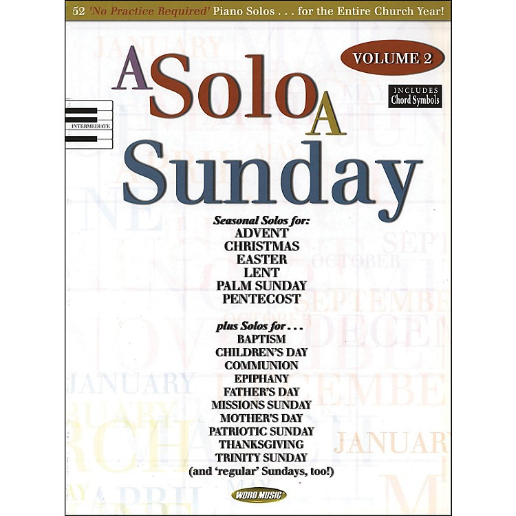 Word Music A Solo A Sunday Volume 2 Piano Solo