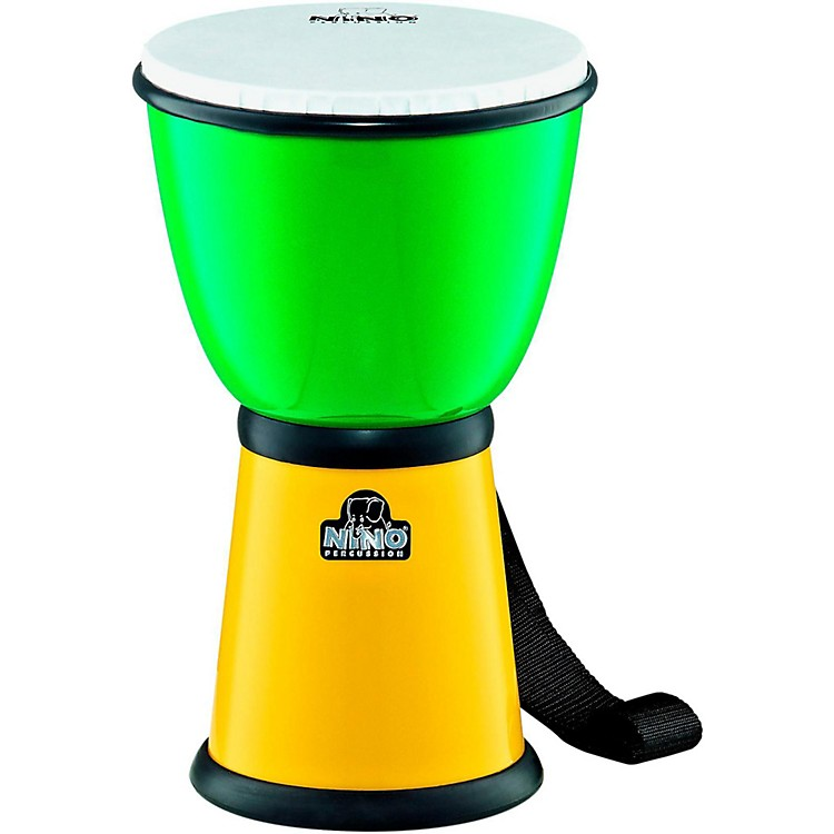 NinoABS Djembe with Nylon StrapGreen/Yellow8 in.