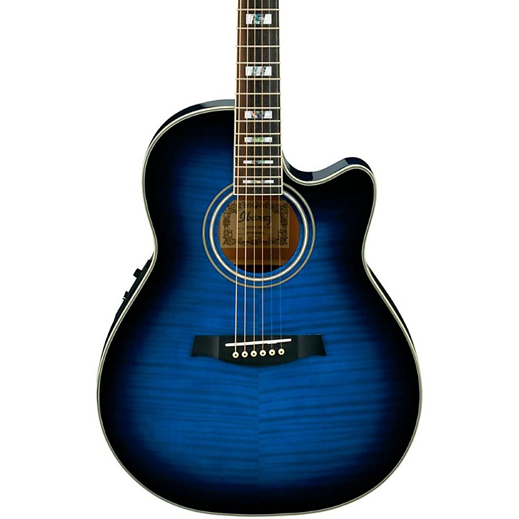Ibanez AEF30E Acoustic-Electric Guitar Trans Blue Sunburst