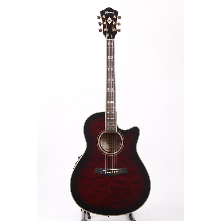 Ibanez AEF37E Cutaway Acoustic-Electric Guitar Transparent Cherry Sunburst 886830741067