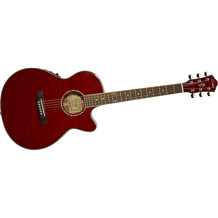 Ibanez AEG Series AEG25E Acoustic Electric Guitar Transparent Red Sunburst