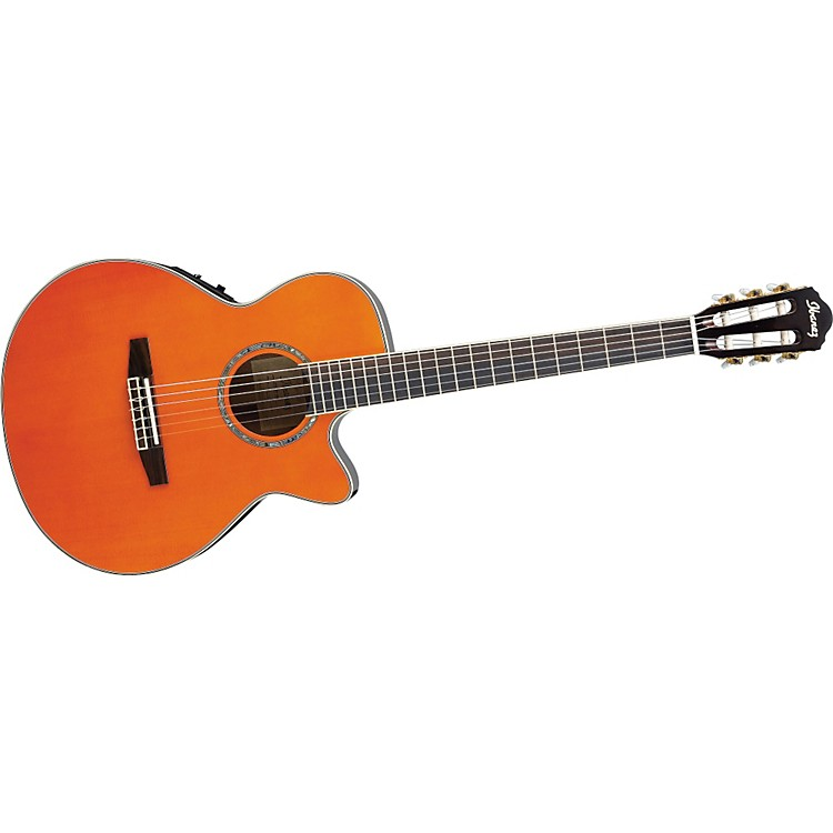 Ibanez AEG10NE Nylon String Cutaway Acoustic-Electric Guitar Gloss Tangerine