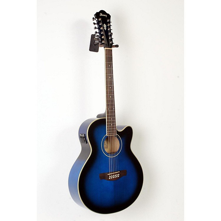 Ibanez AEL152ETBS 12-String Cutaway Acoustic-Electric Guitar Transparent Blue Sunburst 888365894195
