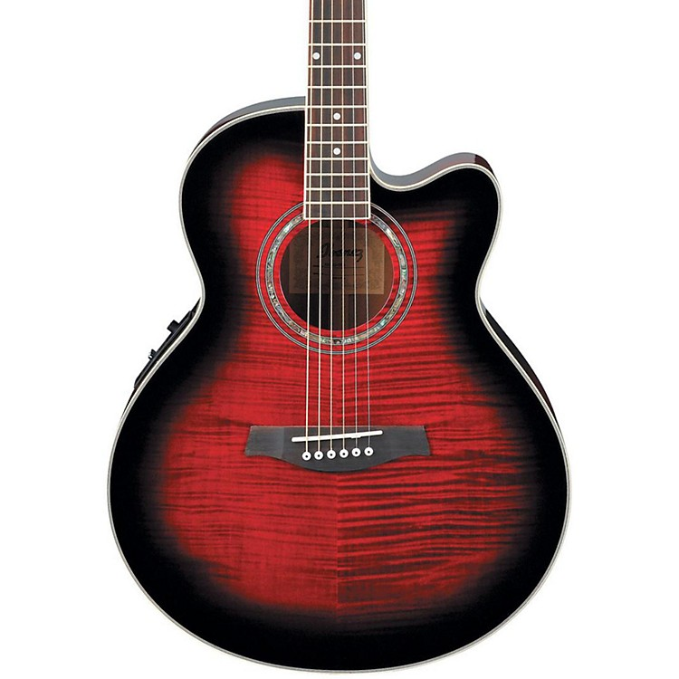 Ibanez AEL20ENT Acoustic-Electric Guitar Transparent Red Sunburst