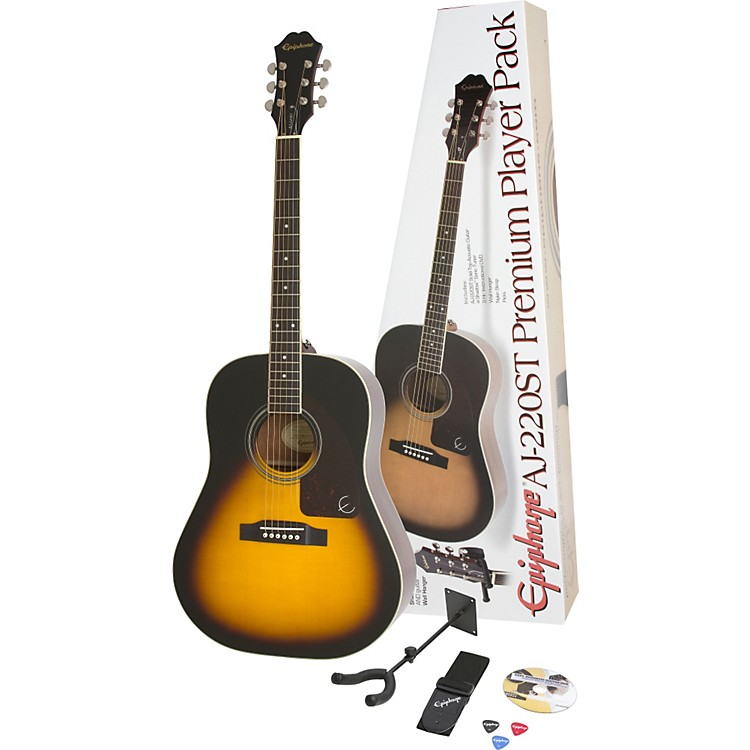 Epiphone AJ-220ST Solid Top Acoustic Guitar Pack Vintage Sunburst