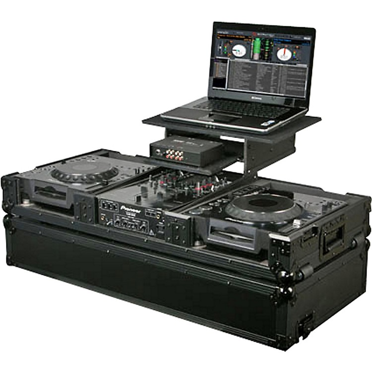 OdysseyATA Black Label Coffin for Laptop, Two CD Players, and DJ Mixer