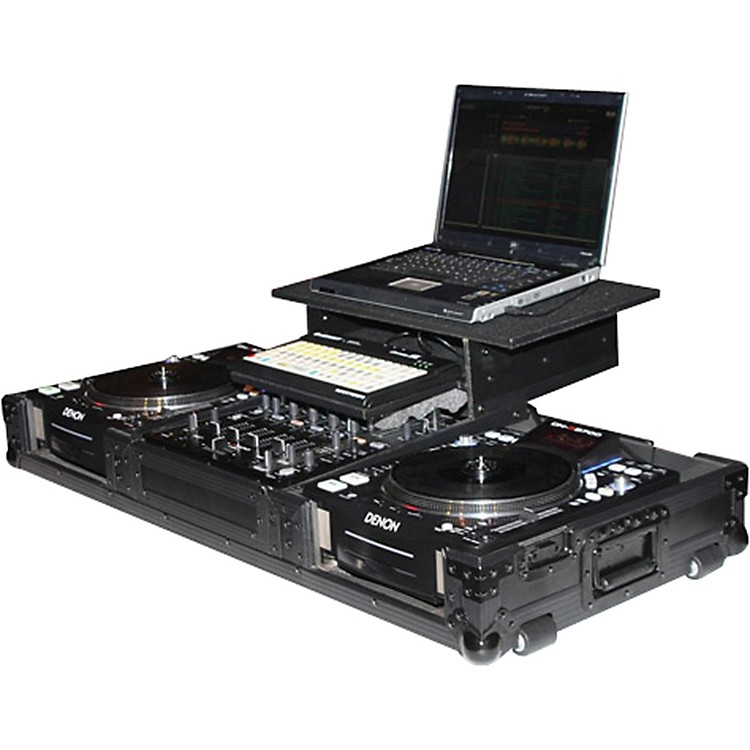 OdysseyATA Black Label Coffin for Laptop, Two CD Players, and Mixer