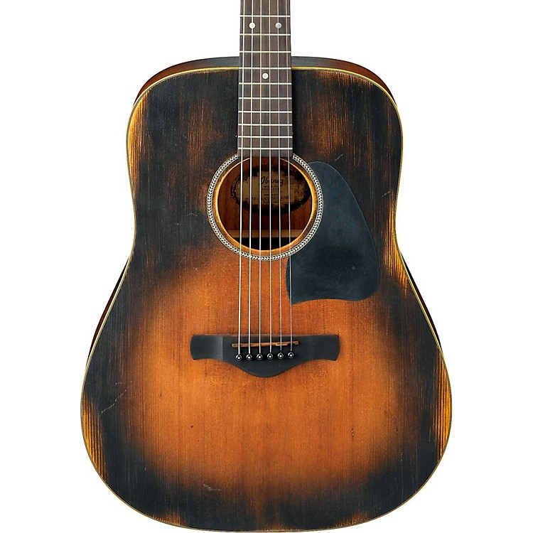 Ibanez AVD6 Artwood Vintage Distressed Dreadnought Acoustic Guitar Tobacco Sunburst