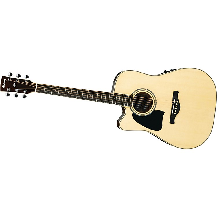 IbanezAW300LECENT Artwood Solid Top Dreadnought Cutaway Left-Handed Acoustic-Electric Guitar