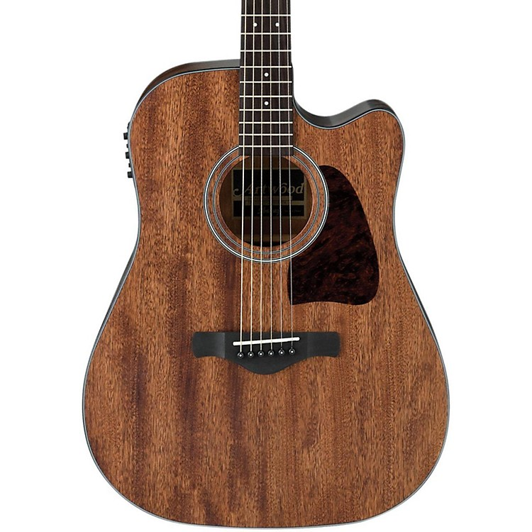 IbanezAW54CEOPN Artwood Solid Top Dreadnought Acoustic-Electric GuitarOpen Pore Natural