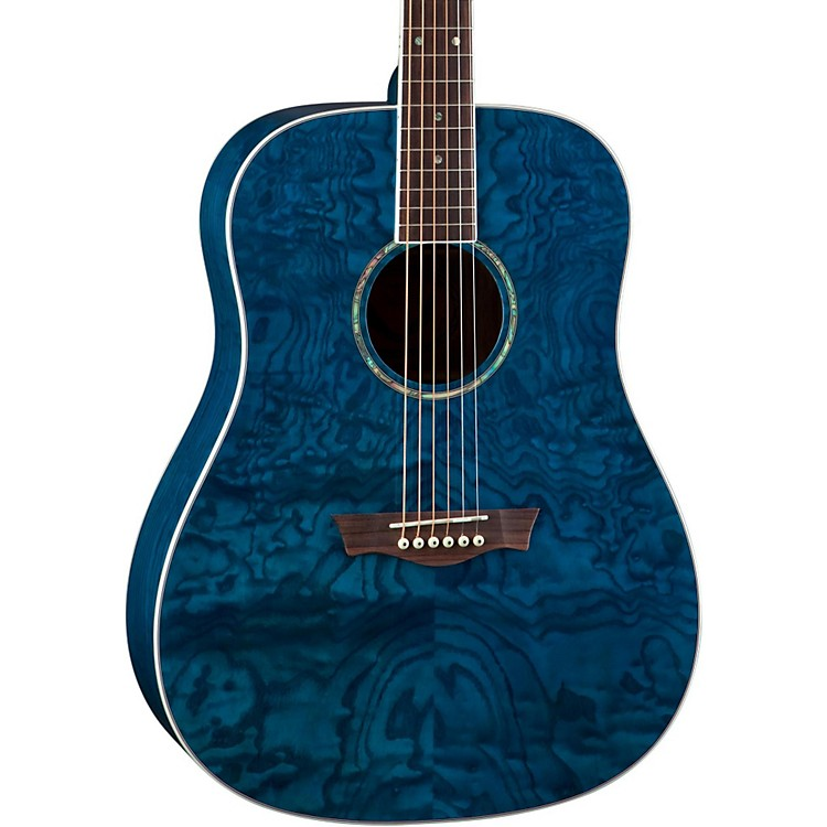 Dean AXS Dread Quilt Acoustic Guitar Transparent Blue