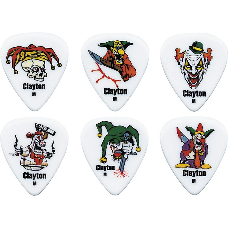 Clayton Acetal Crazed Clown Guitar Picks 1 Dozen Medium