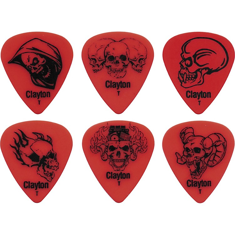 Clayton Acetal Demonic Guitar Picks Red Thin