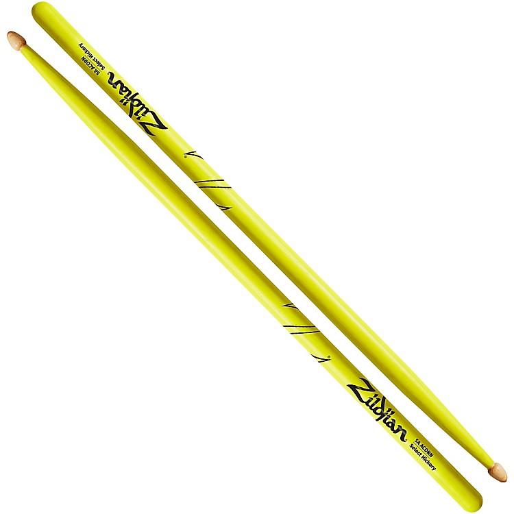 ZildjianAcorn Tip Neon Yellow Drumsticks5AWood Tip