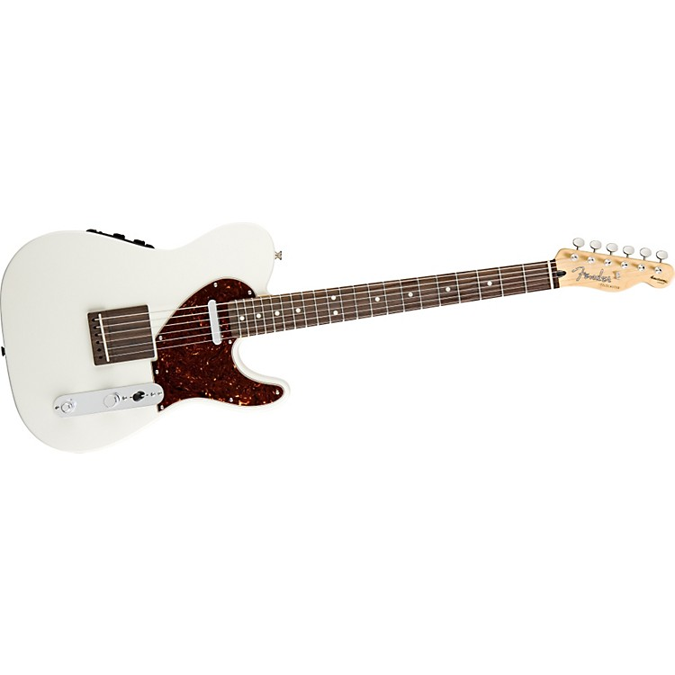 Fender Acoustasonic Telecaster Electric Guitar Olympic White
