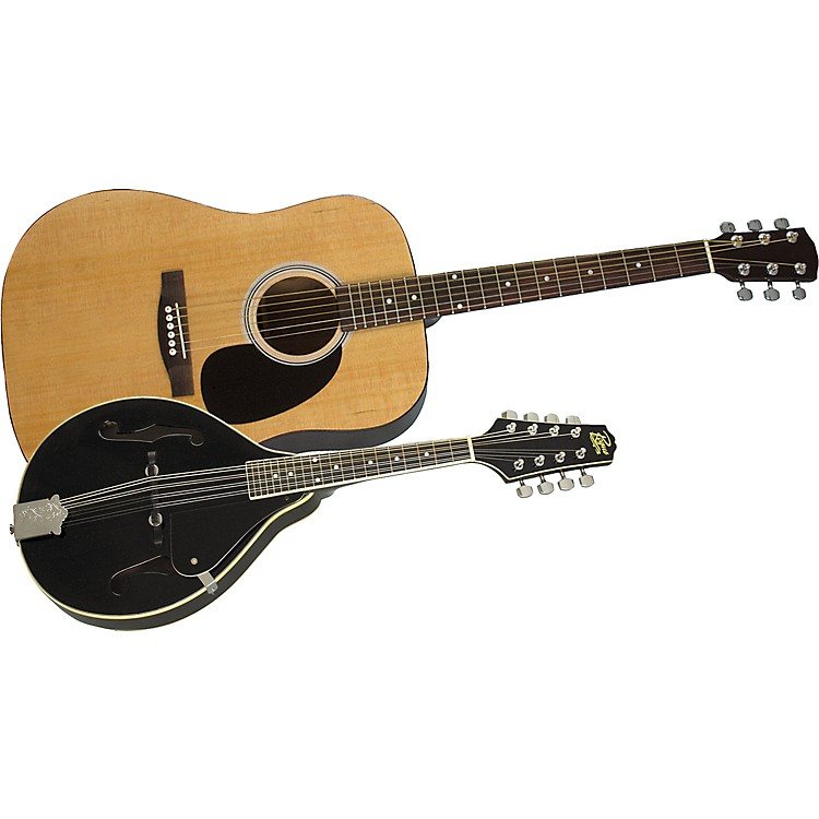 Rogue Acoustic Guitar and Mandolin Pack Natural Black