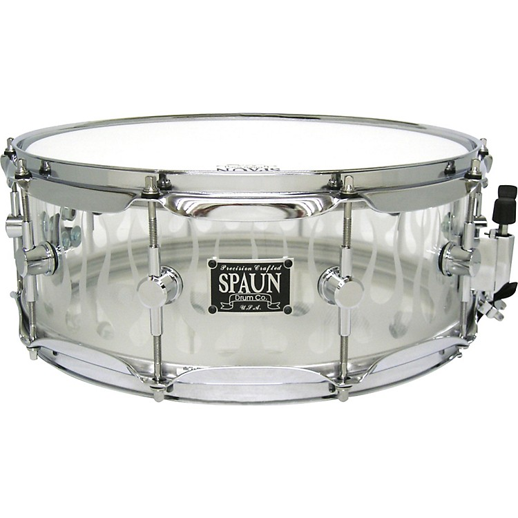 SpaunAcrylic Clear Snare Drum with Sandblasted Flames and Chrome Hardware14X5.5