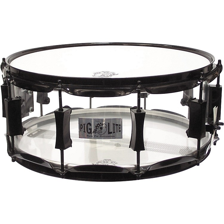 Pork PieAcrylic Snare Drum with Black Powder HardwareClear6x14 Inches