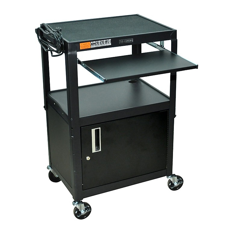 H. WilsonAdjustable Height  Cart with Keyboard Tray and Locking Cabinet