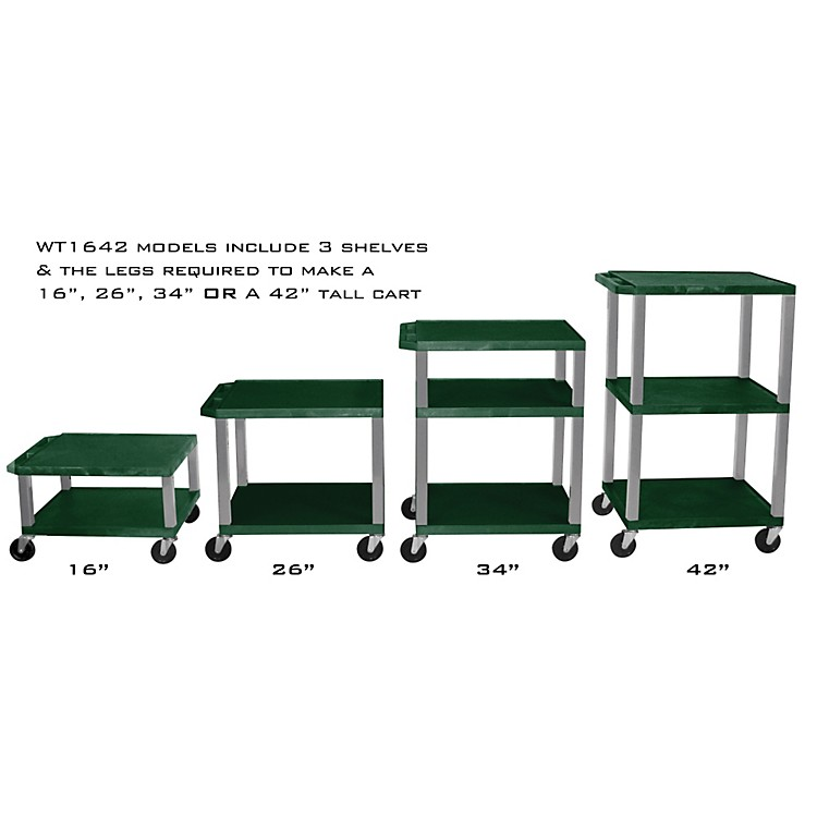H. Wilson Adjustable-Height Open Shelf Tuffy Cart Hunter Green and Nickel Small-Large