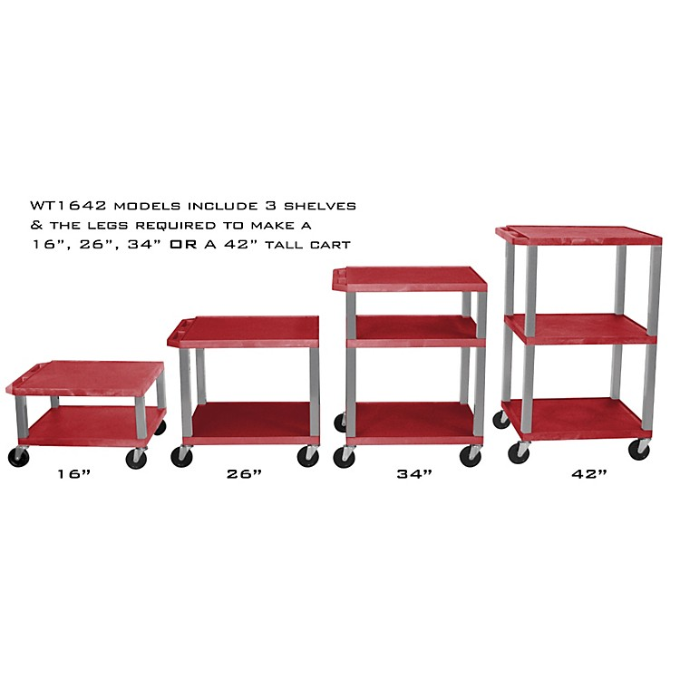 H. Wilson Adjustable-Height Open Shelf Tuffy Cart Red and Nickel Small-Large
