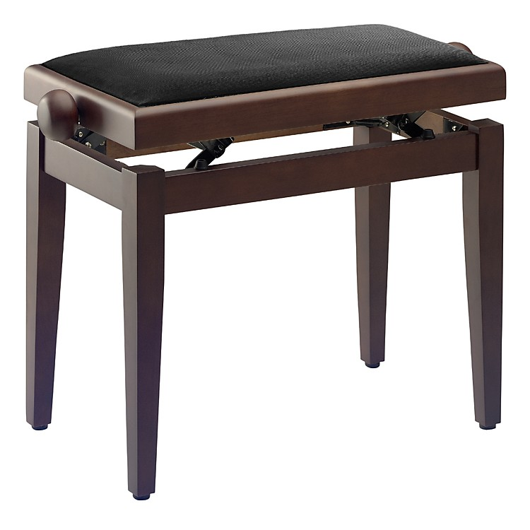 Musician's Gear Adjustable-Height Piano Bench Black Velvet Top Walnut Matt Finish