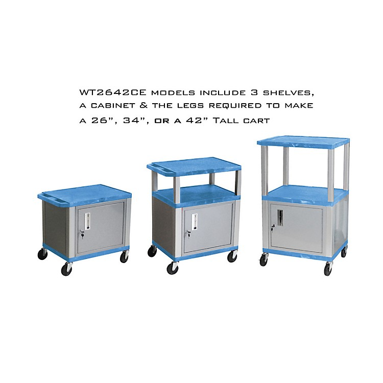 H. Wilson Adjustable-Height Tuffy Cart with Lockable Cabinet Blue and Nickel Small-Large