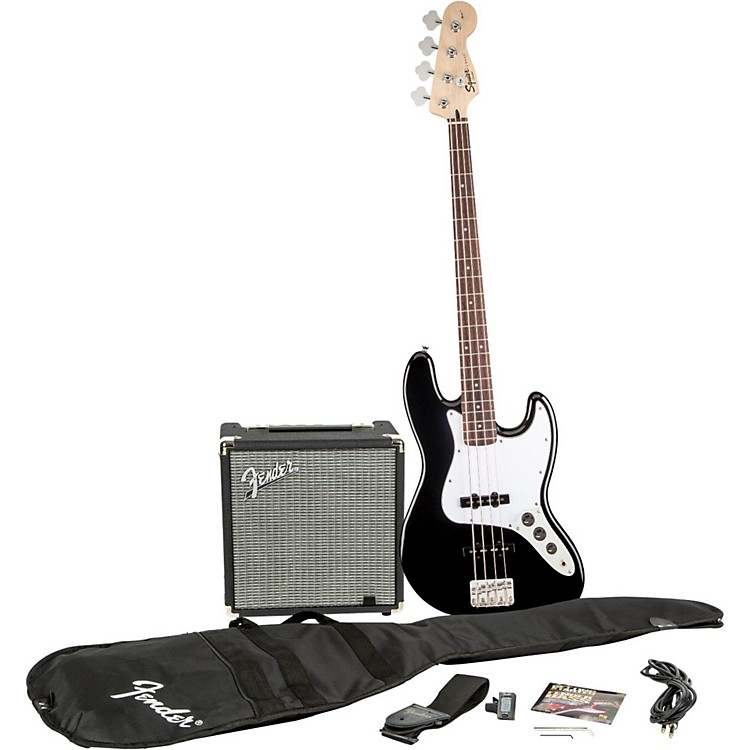 SquierAffinity Series Jazz Bass Pack with Fender Rumble 15W Bass Combo AmpBlack