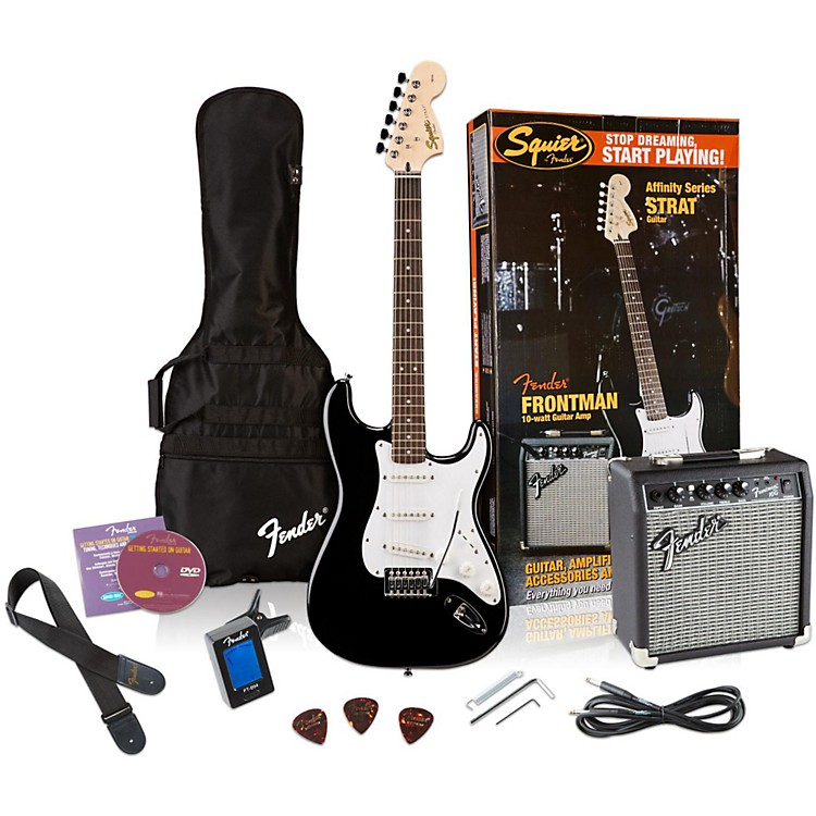 SquierAffinity Stratocaster Electric Guitar Pack w/ 10G AmplifierBlack