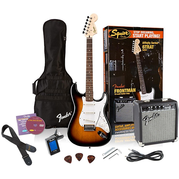 Squier Affinity Stratocaster Electric Guitar Pack w/ 10G Amplifier Brown Sunburst