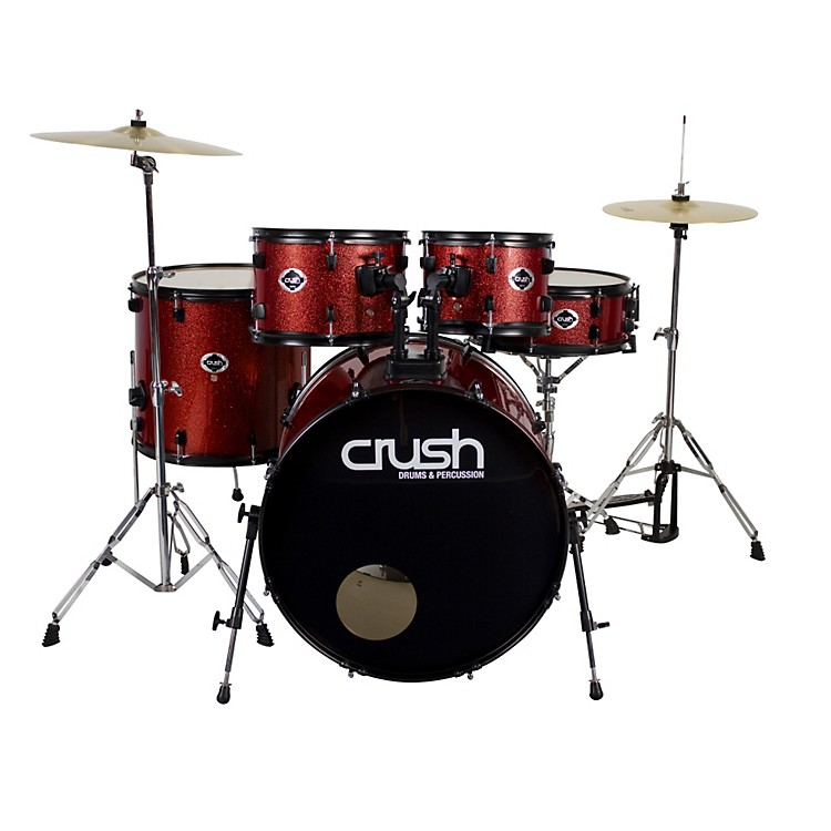 Crush Drums & PercussionAlpha 5-Piece Drum Set with CymbalsRed Sparkle with Black Hardware