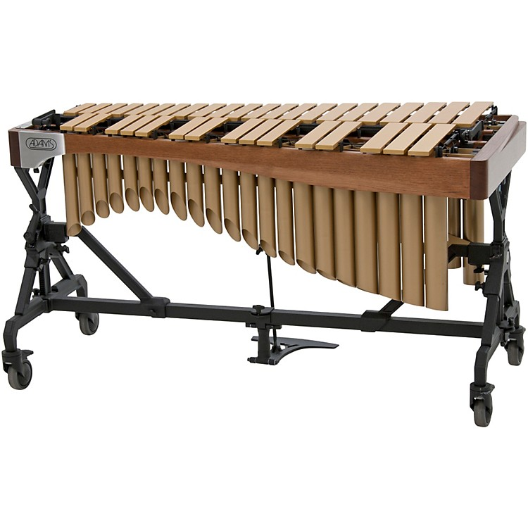 Adams Alpha Series 3.0 Octave Vibraphone, Gold Bars Motor Traveler Frame Walnut Rails Satin Gold Resonators