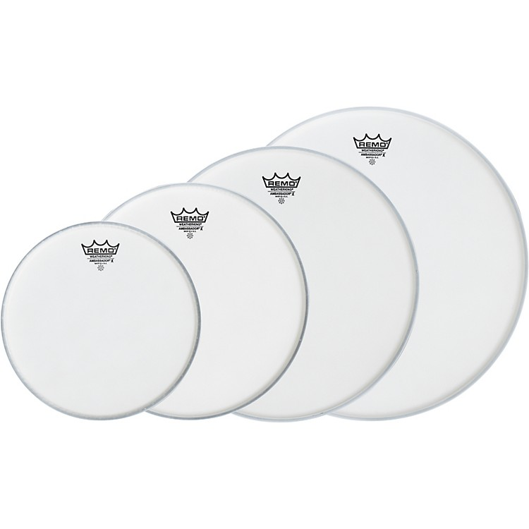 Remo Ambassador X New Fusion Drumhead Pack, Buy 3 Get a Free 14 Inch Head