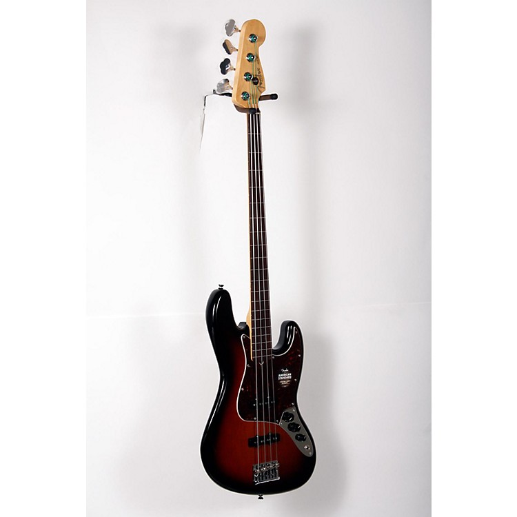 Fender American Standard Jazz Bass Fretless 3-Color Sunburst, Rosewood Fingerboard 888365899992