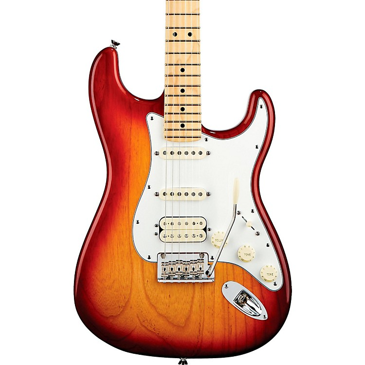 Fender American Standard Stratocaster HSS Electric Guitar with Maple Fretboard Sienna Sunburst Maple Fingerboard