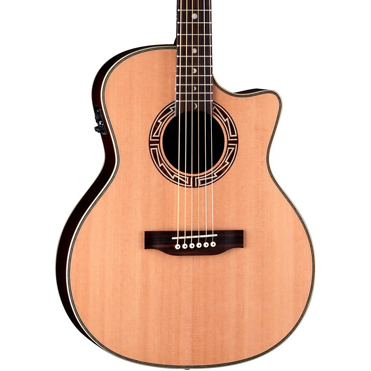 Luna Guitars Americana Inspired AMM 100 Mimbres Acoustic-Electric Guitar Natural Grand Concert Cutaway