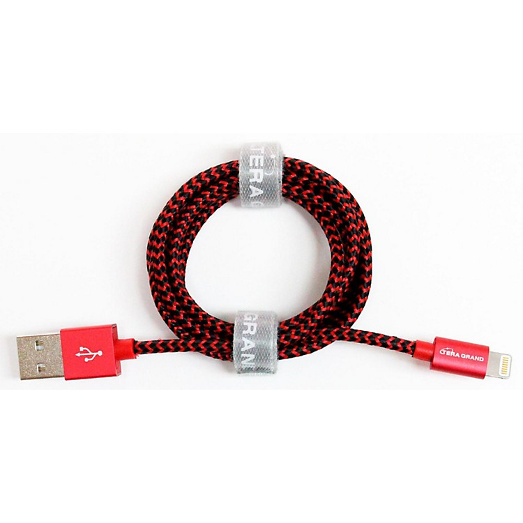 Tera Grand Apple MFi Certified - Lightning to USB Braided Cable with Aluminum Housing 4 ft. Red and Black