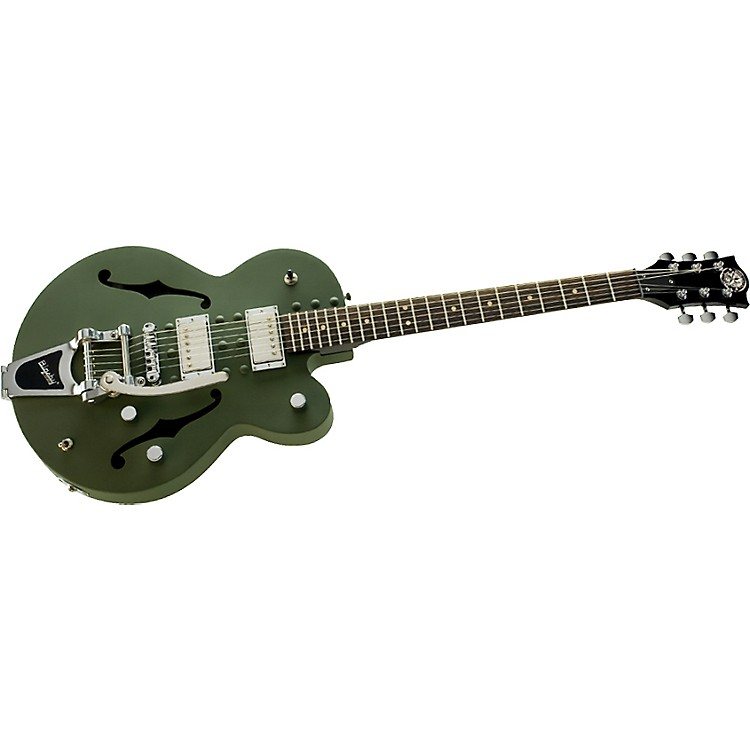 Normandy Army Green Powdercoat Archtop Guitar with Bigsby Vibrato Tailpiece Army Green
