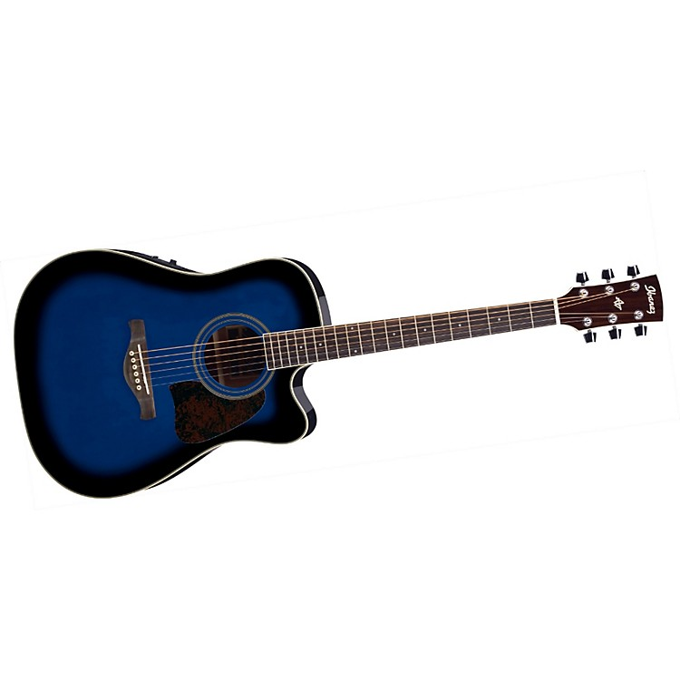 Ibanez Artwood Series AW70ECE Solid Top Dreadnought Cutaway Acoustic-Electric Guitar Transparent Blue Sunburst