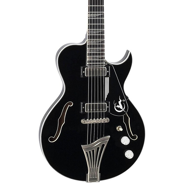Luna Guitars Athena Sun Semi-Hollowbody Electric Guitar Black