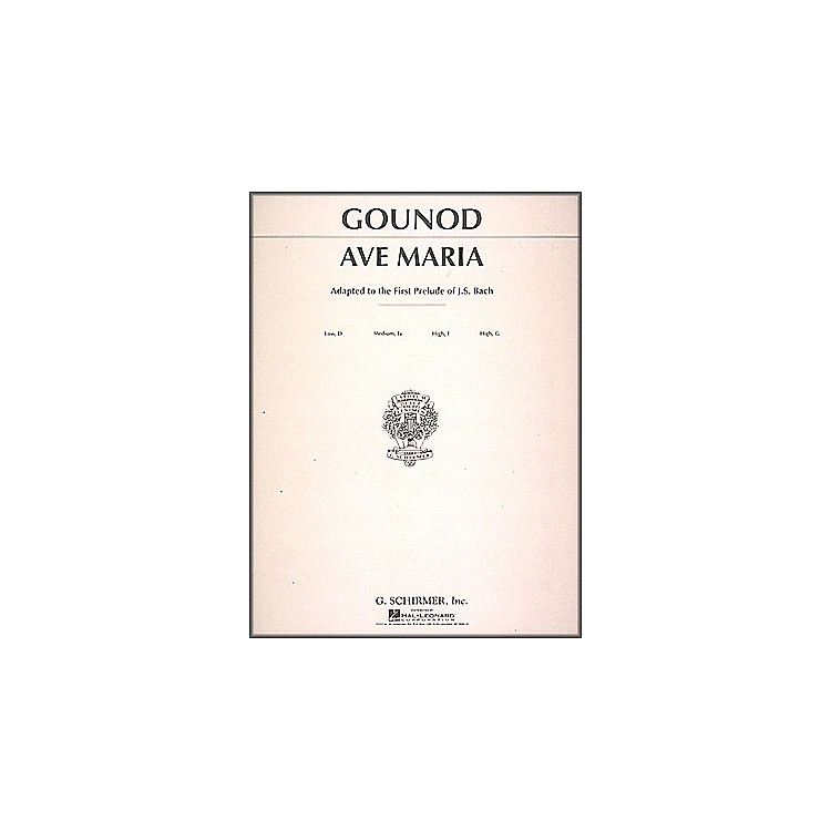 G. Schirmer Ave Maria In F for Medium High Voice By Bach / Gounod