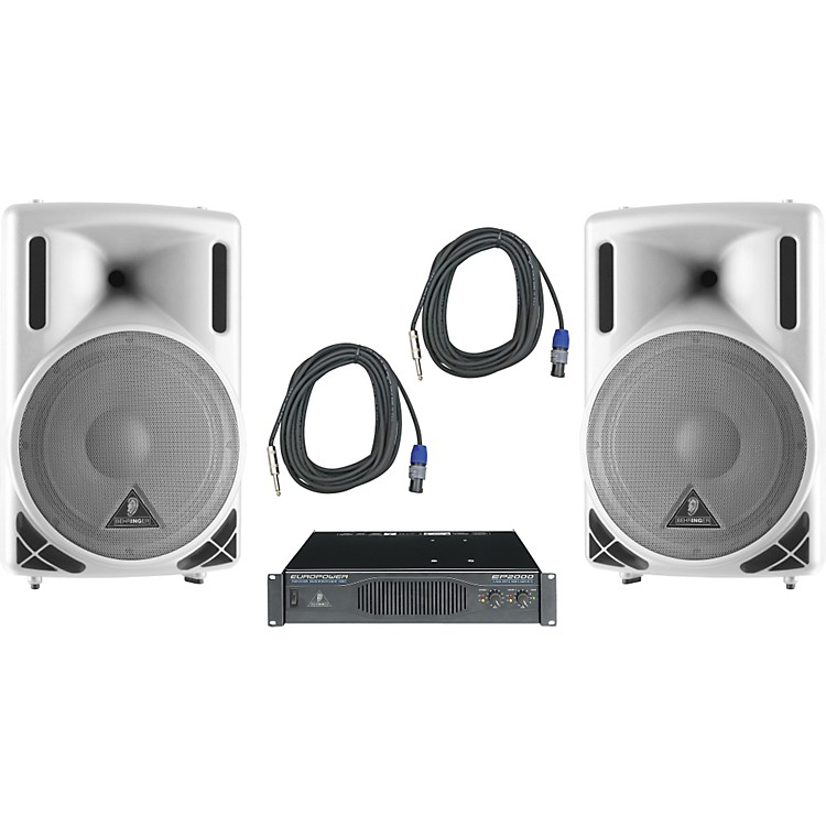 Behringer B212XL White / EP2000 Speaker & Amp Package