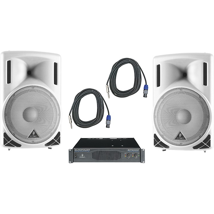 Behringer B215XL White / EP2000 Speaker & Amp Package